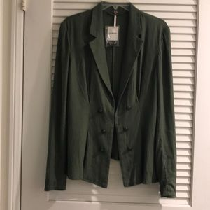 Free People Green Linen Double Breasted Jacket
